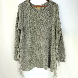 NEW Anthropologie Kasumi Suede Fringe Boho Sweater
